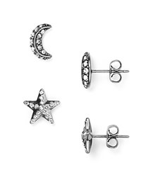 Marc Jacobs Moon And Star Stud Earrings Black Antique Silver
