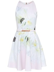 Ted Baker Tuliaa Pearly Petal Skater Dress Nude Pink