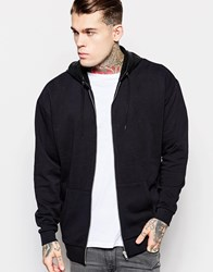 Asos Oversized Zip Up Hoodie With Faux Leather Hood Black