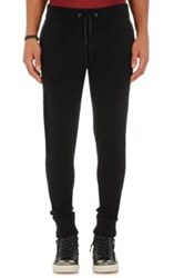 John Varvatos Leather Trimmed Jogger Pants Black