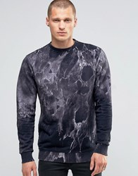 Religion Sweatshirt With All Over Marble Print Black