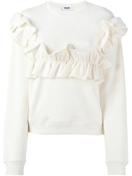 Msgm Ruffle Detail Sweatshirt Nude And Neutrals