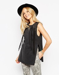 Asos Festival Tunic Top In Acid Wash With Studs And Fringing Black