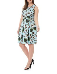 Harper Liv Plus Pleated Fit And Flare Floral Scuba Dress Bay Leaf
