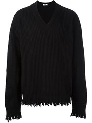 Msgm Frayed Ribbed Pullover Black
