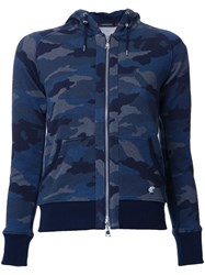 Loveless Camouflage Zipped Hoodie Blue