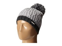 Michael Michael Kors Color Block Rib Cable Hat With Pom Pearl Derby Caps White