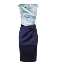 Talbot Runhof Bi Colour Satin Pencil Dress Female Navy