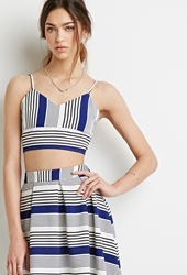 Forever 21 Striped Cami Bustier White Royal
