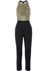 Alice Olivia Jeri Embellished Tulle And Hammered Satin Jumpsuit Black