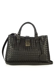 Bottega Veneta Mini Roma Intrecciato Leather Tote Black