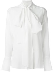 Chloe Pussy Bow Blouse White