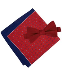 Tommy Hilfiger Men's Solid Pre Tied Bow Tie And Micro Neat Pocket Square Set Red