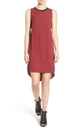 Trouve Women's Banded High Low Shift Dress Red Cordovan