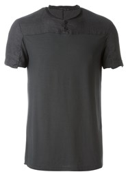 Transit Wrinkled Panel Buttoned Collar T Shirt Grey