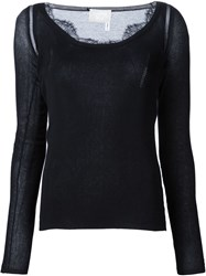 Lanvin Lace Detail T Shirt Black