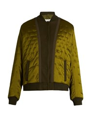 Maison Martin Margiela Quilted Satin Bomber Jacket Green