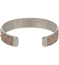 Aspinal Of London Cleopatra Skinny Python Leather Cuff Bangle M Nude