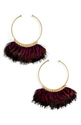 Gas Bijoux Women's 'Buzios' Feather Hoop Earrings Purple