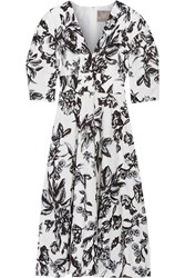 Lela Rose Floral Print Cotton Dress Ivory