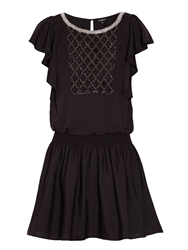 Morgan Loose Fit Dress With Beaded Detail Black