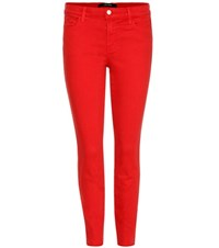 J Brand Low Rise Super Skinny Jeans Red