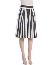 Milly Graphic Striped Cropped Culottes Navy