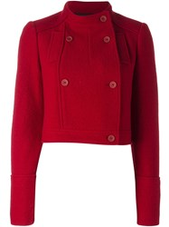 Jil Sander Navy Double Breasted Cropped Jacket Red