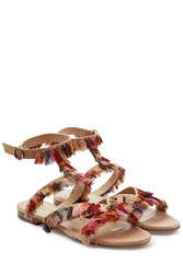 Chloe Leather Sandals With Fringed Trims Multicolor