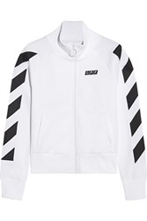 Off White Printed Cotton Blend Jersey Jacket White