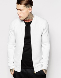 Asos Quilted Bomber Jacket In Jersey With Gold Zips White