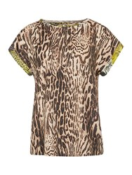 Marc Cain Leopard Print Silk Blend Blouse White Coffee