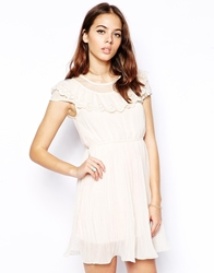 Pussycat London Pleated Dress With Lace Neckline Peach