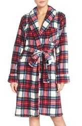 Lauren Ralph Lauren Women's Print Terry Robe Plaid Cream Blue Red
