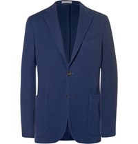 Boglioli Blue Slim Fit Virgin Wool Blazer Blue