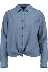 7 For All Mankind Tie Front Cotton Chambray Shirt Mid Denim