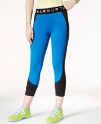 Jessica Simpson The Warm Up Juniors' Printed Cropped Leggings Only At Macy's Blue Wild Black