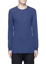 'L.T.' Rolled Hem Long Sleeve T Shirt Blue