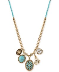 Lucky Brand Two Tone Blue Stone And Butterfly Charm Pendant Necklace Two Tone