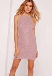 Missguided Square Neck Lace Bodycon Dress Lilac Purple