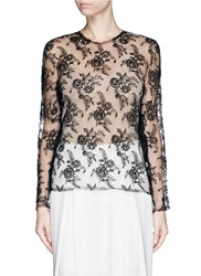 Ms Min Sheer Floral Lace Top Black