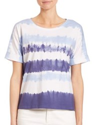 Lafayette 148 New York Tie Dye T Shirt Denim Blue Multi