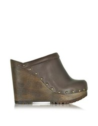 See By Chloe Dark Brown Leather Wedge Mule
