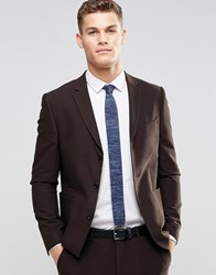 Asos Skinny Suit Jacket In Brown Brown
