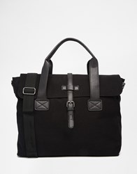 Asos Satchel In Black Canvas With Faux Leather Trims Black