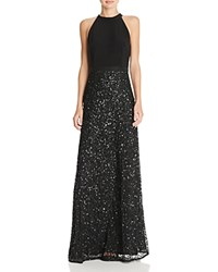 Adrianna Papell Sequin Skirt Gown Black