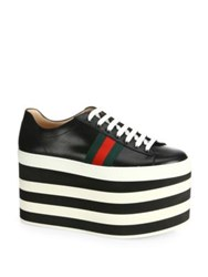 Gucci Peggy Leather Platform Sneakers Black White