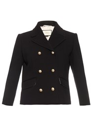 Gucci Double Breasted Wool Blend Jacket Black