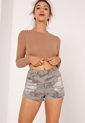 Missguided Long Sleeved Ribbed Crop Top Nude Grey