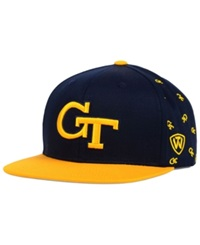 Top Of The World Georgia Tech Yellow Jackets All Flocking Snapback Cap Navy Gold